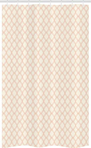 ABAKUHAUS Modern Douchegordijn, Geometrische Hexagon Stripe, voor Douchecabine Stoffen Badkamer Decoratie Set met Ophangringen, 120 x 180 cm, Peach Cream