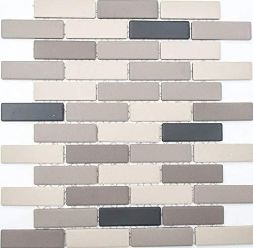 Mozaïek tegel keramiek lichtbeige grijs brick ongeglazuurd douchebak vloertegel MOS26-0206-R10_f