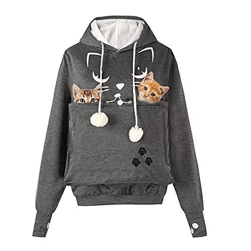 AMOYUN Frauen Kapuzenpullover mit Katzen Hund Großen Tasche,Mode Unisex Katze Ohr Langarm Hoodie Sweatshirt Kapuze Hoodie Hundetasche für Haustier Hund Katze Halter
