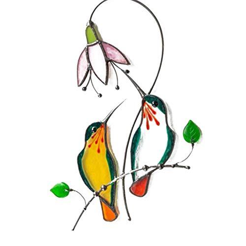 perfeciti Kolibri Fenster Klammert Buntglasscheiben Vögel Wandtattoo Kreative Fliegende Vogel Aufkleber Für Fenster & Wohnzimmer Wandkunst Dekor