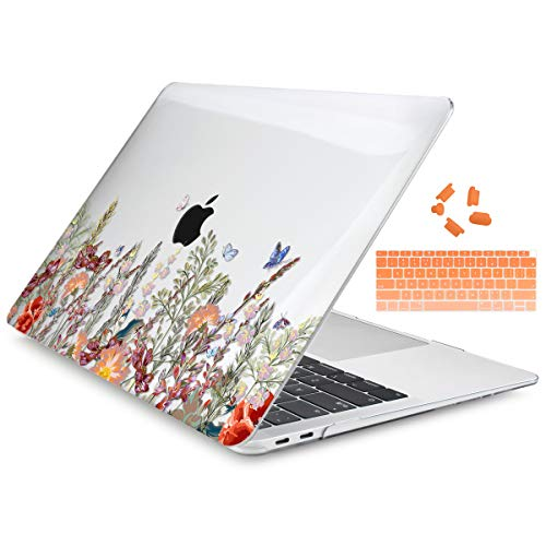 Dongke MacBook Air 13 Inch Case 2020 2019 2018 Release Model: A2179/A1932, Crystal Clear Hard Shell Cover for MacBook Air 13' with Retina Display & Touch ID - Floral Illustration