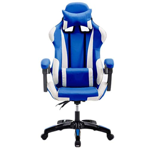 HIZLJJ Presidente de juego que compite con computadora de oficina Butaca de juego ergonómico respaldo y el asiento de ajuste de altura reclinable giratorio Rocker con reposacabezas y almohada lumbar E