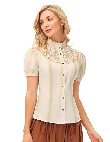 camicia donna gotica SCARLET DARKNESS Camicia Vintage da Donna in Stile Vittoriano con Bottoni Gotico Vittoriana M Beige#1