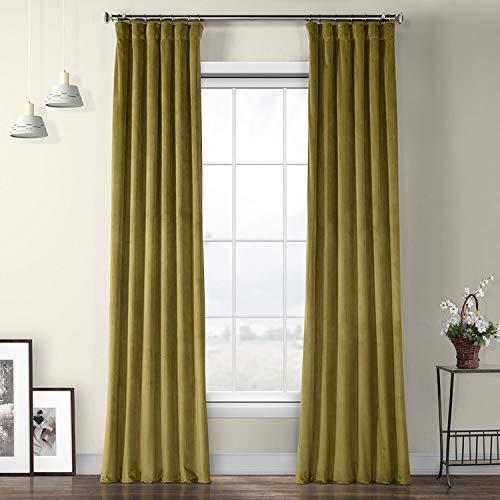 HPD Half Price Drapes VPYC-161224-96 Plush Velvet Curtain (1 Panel), 50 X 96, Retro Green