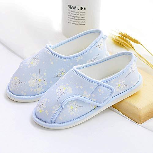 Traagschuim Huisschoenen voor Athritis,Zwangere vrouwen postpartum slippers, zachte bodem tas en opsluiting schoenen-40_Sky blauwe bloemen,Plantar Fasciitis sneakers Air Shoe