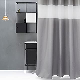 Eforgift Pastoral Top Tulle Design Shower Curtain Mildew Proof Water Repellent Fabric Solid Gray Stall