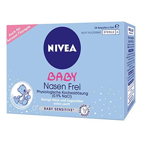 NIVEA BABY Nasen frei (24 Ampullen à 5 ml), Nasenpflege mit Kochsalzlösung reinigt Nase und Augenlider, befeuchtet die Nase und erleichtert das Atmen