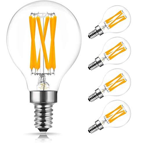 DORESshop LED Filament Leuchtmittel, E14 P45 LED Edison Vintage Glühbirne, 6W Ersetzt 60W Klar Glas Glühfadenlampe, Warmweiß 2700K, 600LM Retro Lampe für Kronleuchter, Nicht Dimmbar, 4er Pack