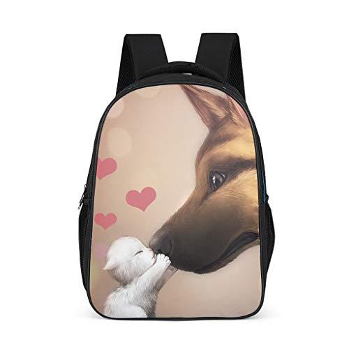 Fineiwillgo Mochila para libros, diseño de gatos y perros, resistente, para mujer, color gris brillante, talla única
