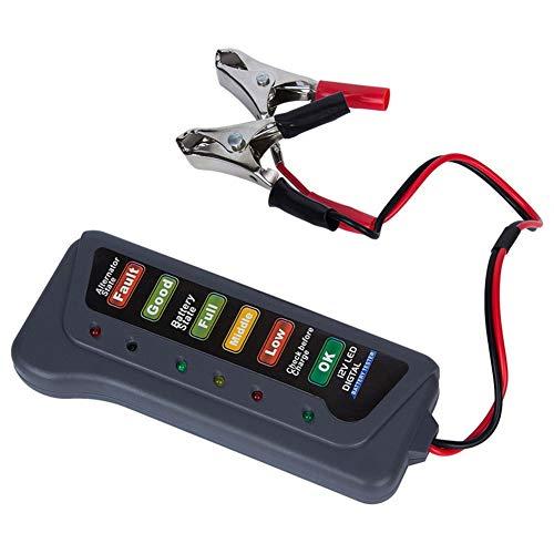ihreesy Autobatterietester,12V Autobatterie Lichtmaschine Prüfgerät Kunststoff Batterieladestecker Prüfer Testgerät mit 6 LED für Auto Motorrad LKW Batterie