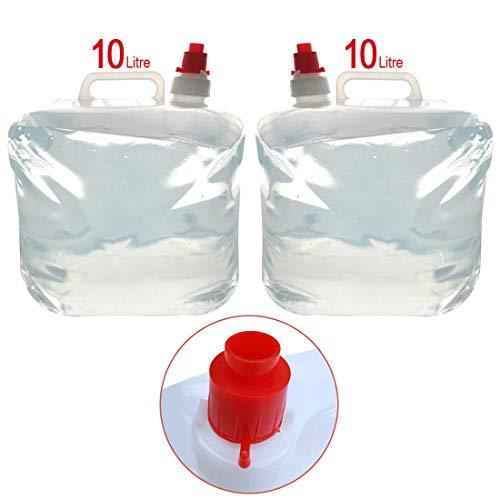 Schone producten (UK) Outdoor gebruik inklapbare herbruikbare water vervoerder container- Tank opslag voor noodsituatie, droogte, epidemieën, Caravan- aan/uit mondstuk met afneembare tuit 2 Pack
