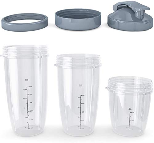Replacement Cups with Lids for Nutri bullet - Compatible with Blenders Series 600W, Pro 900 - Includes 4 Jars 32oz, 24oz, 18oz