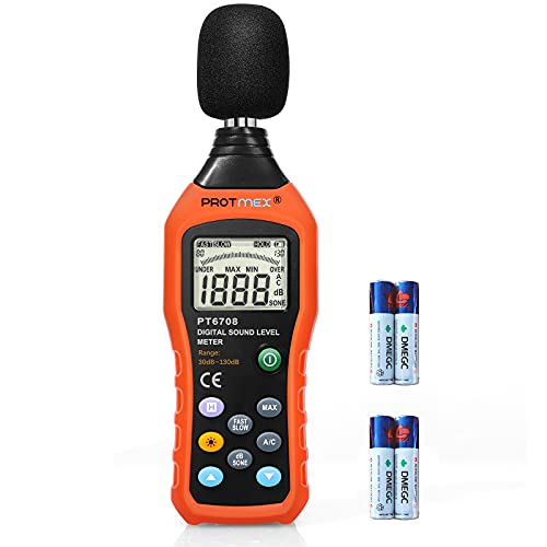 Protmex Sound Level Meter, Dual Mode Sound Monitor Decibel Meter Noise Level Meter 30-130dB Measure with Fast/Slow Selection, Backlight, Max and Data Hold Function, A/C Mode PT6708(Batteries Included)
