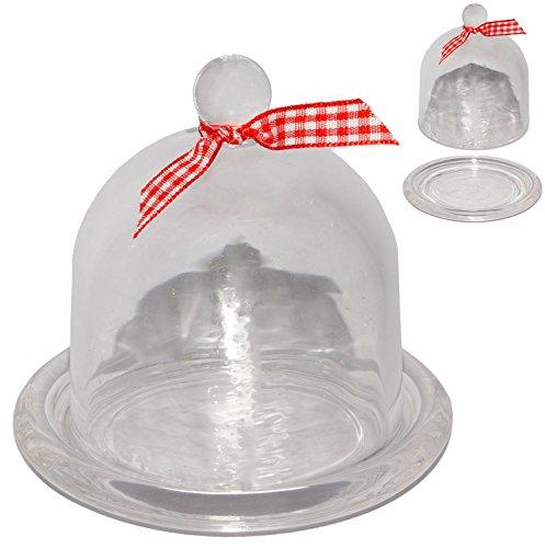 alles-meine.de GmbH 1 Stück _ kleine Glasglocke -  transparent / weiß  - 10 cm - mit Glas Boden - Deko / Muffin - Süßigkeiten - Glasboden - Präsentationsglocke / Glaskuppel - G..