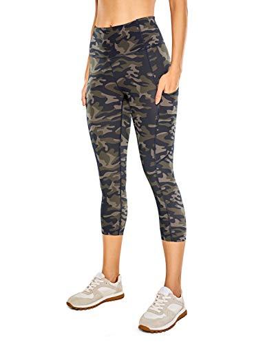 CRZ YOGA Mujer Cintura Alta Leggings Deportivas Fitness Running Pantalones Capri con Bolsillos -48cm Camo Multi 10 42