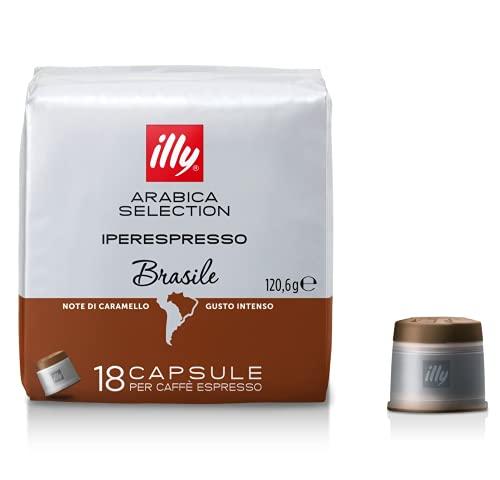 Illy Iperespresso Brazil Arabica Selection avec Notes Caramel - 1 x 18 Capsules pour Café Espresso (120,6 Grammes)