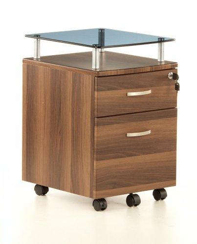 hjh OFFICE 673808 caja con ruedas, almacenaje móvil EKON nogal / vidrio, con 2 cajones (1x con cerradura), estante de vidrio decorativo, resistente y robusto, ruedas autoblocantes, 61x40x45 cm