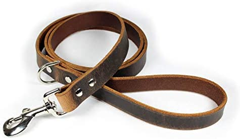 Premium Thick Leather Dog Leash Dark Brown product image