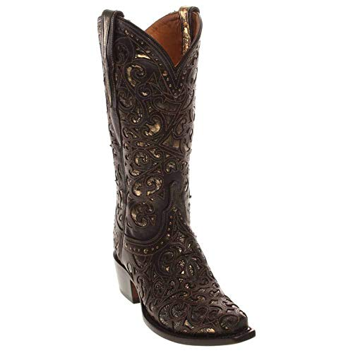 """Lucchese Womens Sierra Snip Toe Western Cowboy Dress Boots Mid Calf Low Heel 1-2"""" - Brown - Size 10 C"""