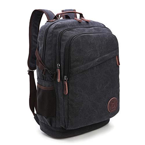 Neusky Vintage Canvas Rucksack Laptoprucksack Retro Schulrucksack Backpack Daypack für Uni, Laptop, Wandern, Outdoor Sport, Freizeit, Einkaufen mit der großen Kapazität (Schwarz)