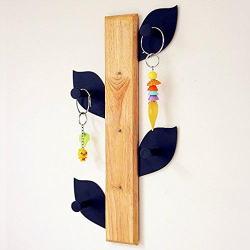 LWJJYMJ Wandkapstok massief hout boom takken type vrij spijker 4 haken verkrijgbaar in twee soorten hoog 50cm (kleur: rond blad)