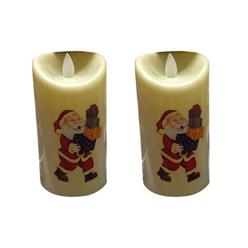 Uonlytech 2ST Weihnachten Weihnachtsmann flammenlos Kerzen dekorativ Partei Kerzen für Weihnachten nach Hause ohne Batterie (Zufallsmuster)