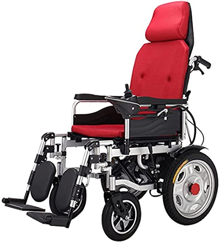 MENG Electric Wheelchair Carbon Steel Frame, Full Reclining Wheelchair, Ultra-Light Folding Four-Wheel Walker for The Elderly and The Disabled,Red