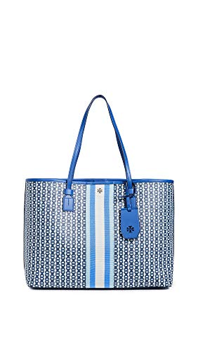 Tory Burch Women's Gemini Link Canvas Tote, Bondi Blue Gemini Link, One Size