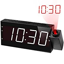 Projection Alarm Clock Radio for Bedrooms,Wall Ceiling Clock with FM Radio,180° Projector,7 Large Display & 5 Dimmer,Buzzer/Radio
