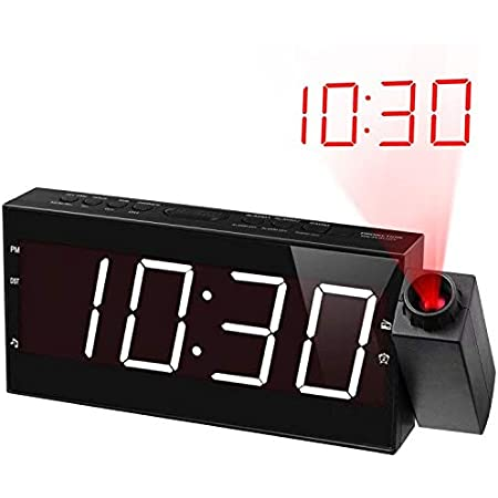 Black Multifunction Digital Projection Clock Display Time Temperature Humidity Large LCD Screen Alarm Clock with Snooze Backlight Function TRADE/® Alarm Clock