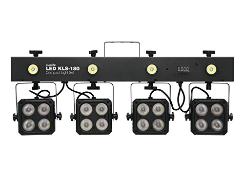 EUROLITE LED KLS-180 Kompakt-Lichtset | Bar mit 4 RGBW-Spots und vier weißen Strobe-LED´s | DMX | Inkl. Transporttasche und Fernbedienung