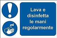 RS PRO 道路標識 Lavare e disinfettare le mani regolarmen 2013343