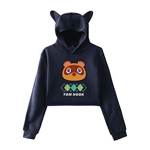 Damen Animal Crossing: New Horizons Lässige Katzenohren Langarm Kapuzenpullover Pullover Sweatshirts