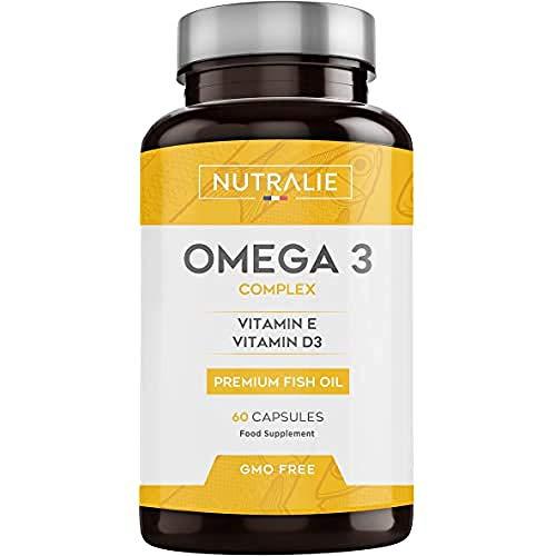 NUTRALIE Omega 3 Olio di Pesce Premium   900 mg EPA e 350 mg DHA per dose   60 Capsule ad Alta Concentrazione di Vitamine E e D3