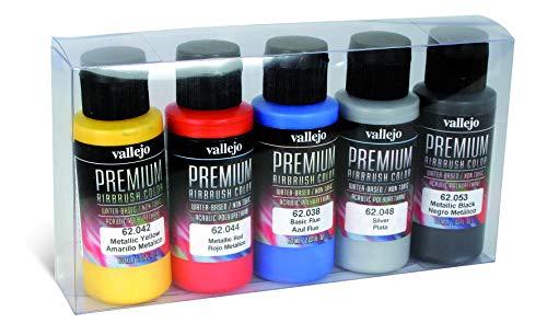 Vallejo- Premium Airbrush Set di Colori acrilici, 6 x 60 ml, Asortiti, 062103