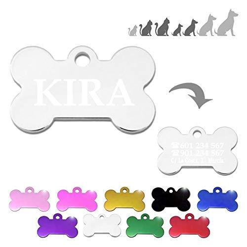 Hueso para Mascotas pequeñas-Medianas Placa Chapa Medalla de identificación Personalizada para Collar Perro Gato Mascota grabada (Plateado)