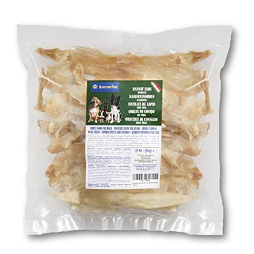 Annonpet 250 Gramos (22 Piezas) de Orejas de Conejo sin Pelo Bajas en Grasa. Masticar bocadillos para Perros. Ideal para Dieta Barf
