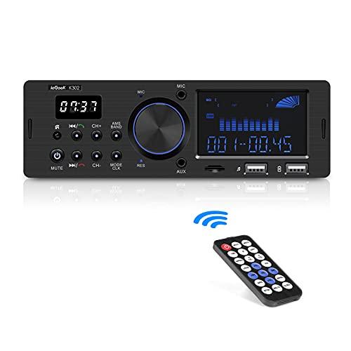 ieGeek Autoradio mit RDS Bluetooth-Freisprecheinrichtung, Duales LCD-Display mit Uhr, 2 USB-Anschlüsse FM/AM / MP3 / AUX/SD-Funktion, 1 Din-Autoradio mit 30 Speicherplätzen und Stromausfallspeicher