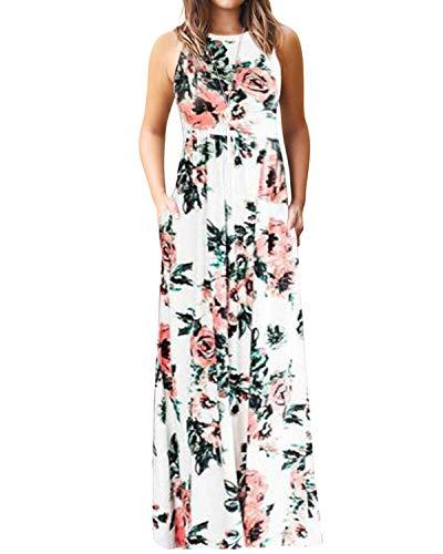 YOINS Robe Longue Femme Robe Bohême Été Chic Imprimé Florale Robe De Plage sans Manches Robe Rayures Tunique Maxi, Imprimé-blanc, EU 32-34