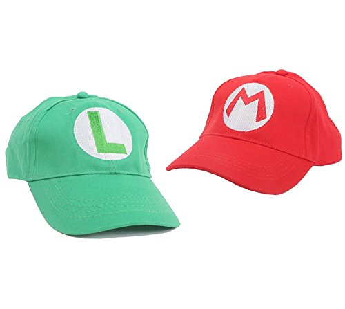 Huafuncos Super Mario Hat Baseball Caps Anime Cosplay Red Green Baseball Hat (Red+ Green)
