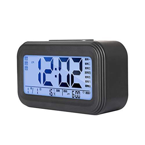 Reloj de escritorio Sencillo y moderno Reloj digital con alarma Pantalla LCD Snooze electrónico Reloj despertador Mute Dormitorio de noche Reloj de luz nocturna Estudiante Reloj despertador Reloj