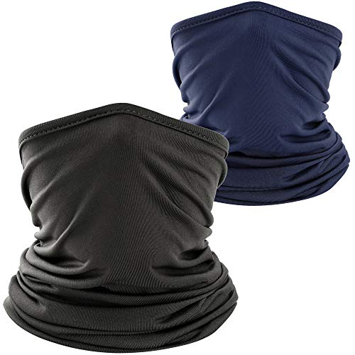 WTACTFUL 2 Pack - Lightweight Neck Gaiter Neck Warmer Face Mask Windproof Protection Cover for Motorcycle Cycling Fishing Hunting Hiking Riding Climbing Ski Snowboard Outdoor Sports Black Navy Blue