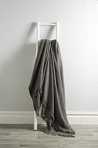Olivia Rocco Lizbona narzuta 100% bawełna gładki plaster miodu sofa łóżko pokrowiec narzuta narzuta frędzle dekoracyjny koc, 228 x 254 cm (90 x 100 cali) szary