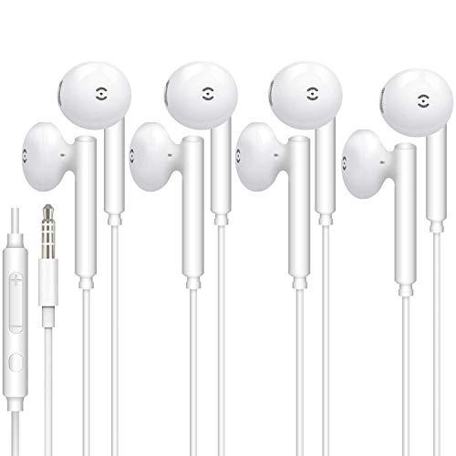 4 Paar für 3.5mm In-Ear kopfhörer mit Kabel Magnetisch in Ear Kabel Ohrhörer mit Mikrofon und Lautstärkeregler für iPhone, iPod, iPad, MP3, Samsung, Leichte Ohrhörer mit 3.5mm Kopfhörern