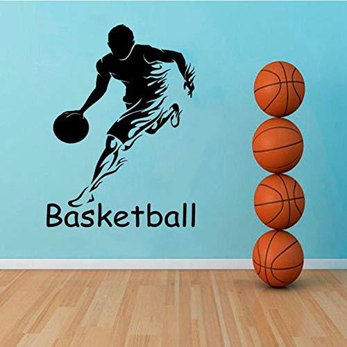 Muurtattoo, 42 x 57 cm, basketbalspeler, voor jongens, tienerkamer, basketbal, decoratie, binnenverlichting, wandlamp, wandlamp, wandlamp, van PVC, decoratie voor huis, modern, waterdicht