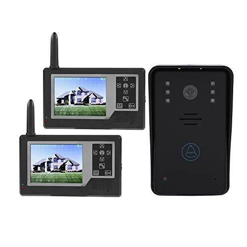 ASHATA Video-Türgegensprechanlage, 2,4G Türklingel Intercom System Türsprechanlage mit 3,5 Zoll 1/2 Monitor,HD-Kamera...
