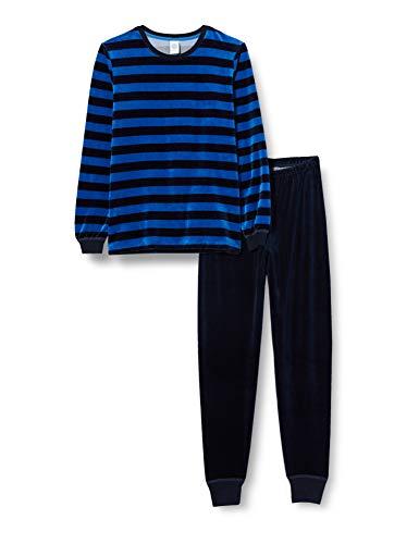 Sanetta Jungen Saphir Komfortabler Nicki-Schlafanzug klassischen Ringel-Look, blau, 104