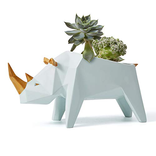 Amoy-Art Jardinera de Cactus Suculenta Figurillas Decorativas Rinoceronte Estatuilla Animale para el Hogar Regalos Resina 18cmL