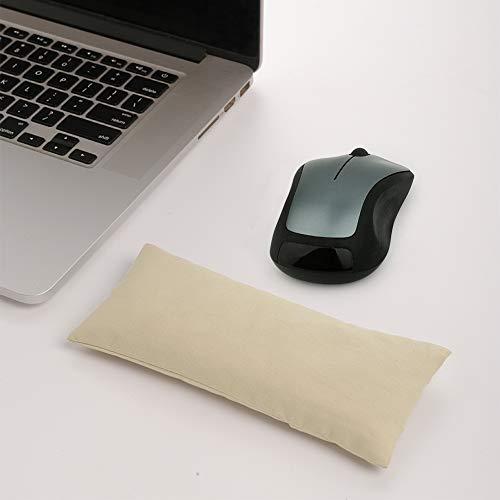 マウスリストレストサポートパッド-人間工学に基づいたマウスパッド、コンピュータ、ラップトップ、事務作業、PCゲーム、マッサージエルゴビーズとコットン生地用の手首サポート付き、オフホワイト(オフホワイト)