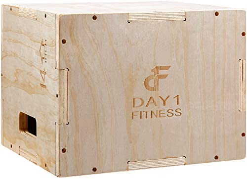 Wood Plyometric Box 16 14 12 by Day 1 Fitness 3 in 1 for Crossfit Training Jumps Heavy Duty product image